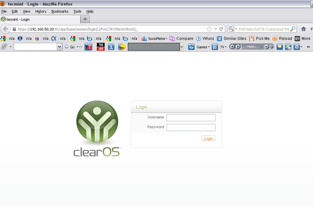 ClearOS Web Interface