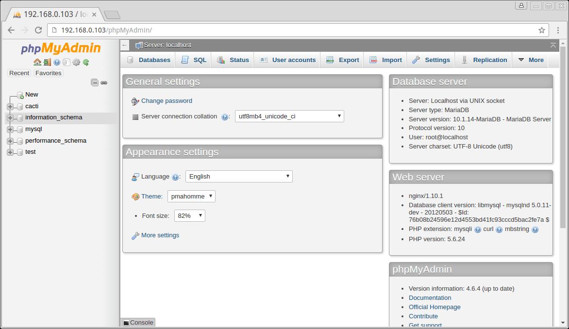 PhpMyAdmin Running on Fedora 24