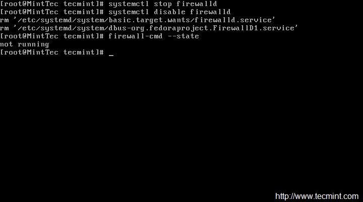 Disable Firewalld in CentOS 7