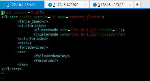 Cluster Configuration with Nodes