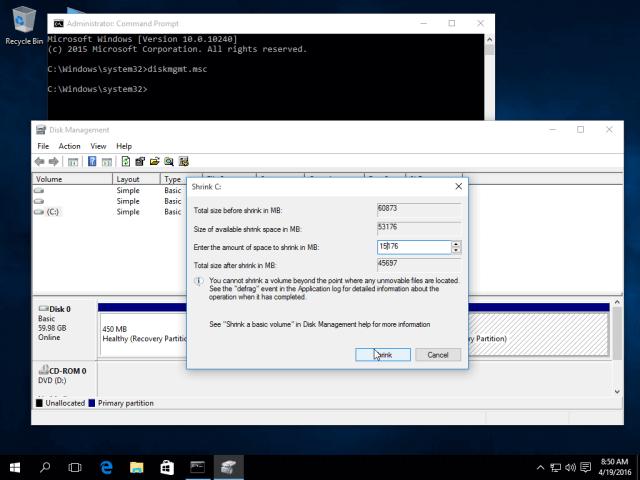 Create Windows Partition for Ubuntu 16.04 Installation