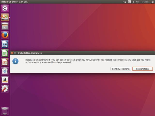 Ubuntu 16.04 Installation Completed