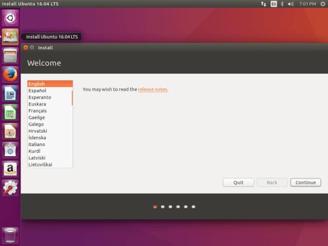 Select Ubuntu 16.04 Installation Language