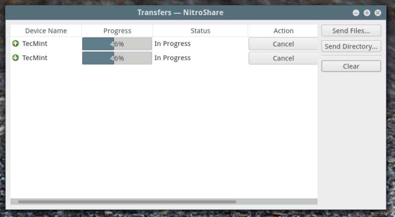 Nitroshare - File Transfer Progress