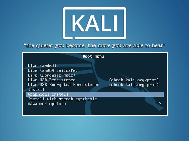 Kali Linux Boot Menu