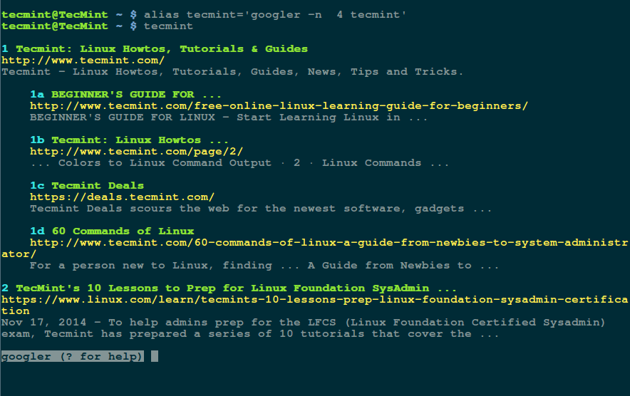 Googler: A Command Line Tool to Do 'Google Search' from