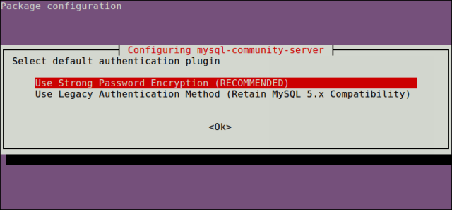 Select MySQL Authentication Plugin