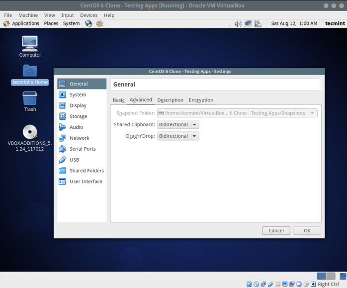 Enable Shared Clipboard in CentOS Virtualbox