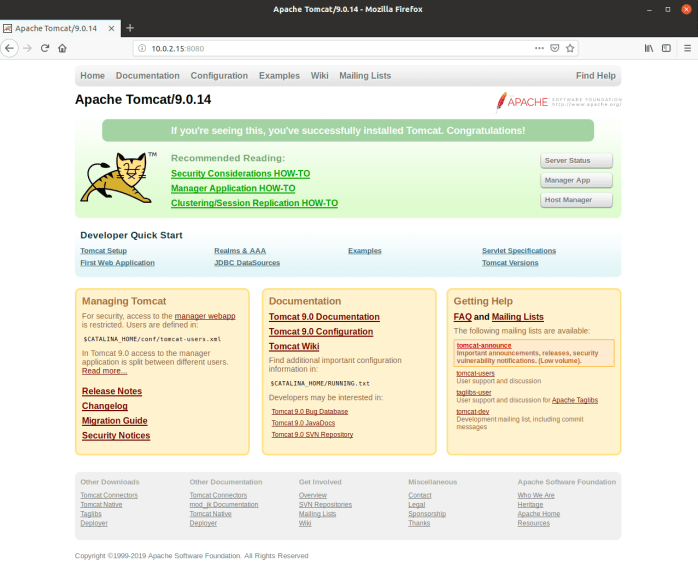 Apache Tomcat Web Page