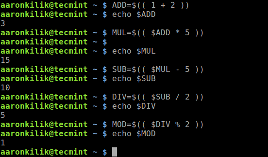 Arithmetic in Linux Bash Shell