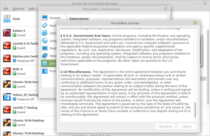Virtualbox License Agreement