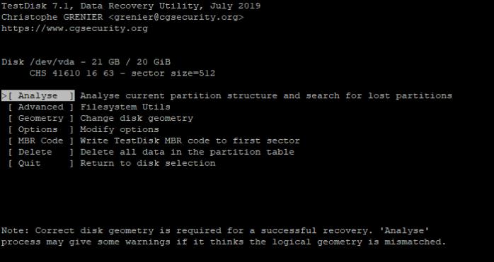 TestDisk Analyze Partition