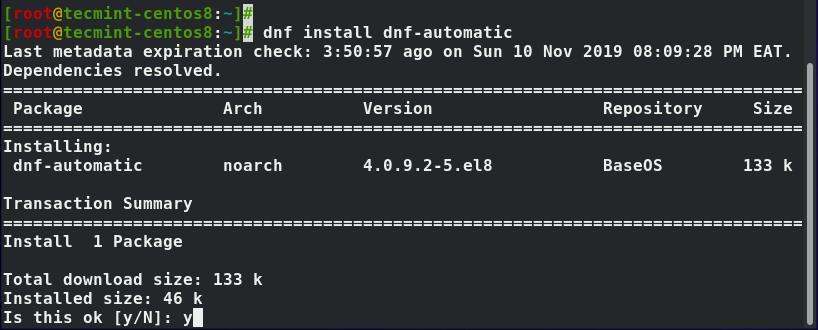 Installieren Sie dnf -omatic in CentOS 8