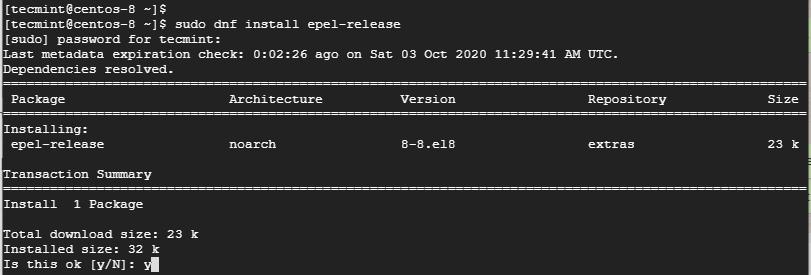 Instale o Epel Repository no CentOS