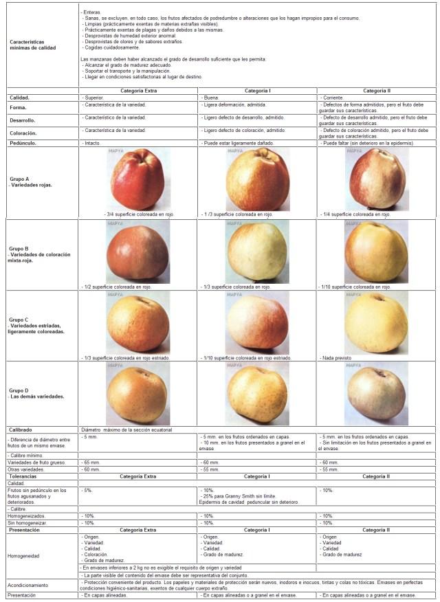 Cuadro resumen de la norma de Manzanas