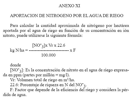 Produccion integrada citricos APORTACION DE NITROGENO POR EL AGUA DE RIEGO PARA CITRICOS