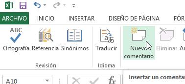 Cómo añadir comentarios en Excel - Añadir Nuevo comentario