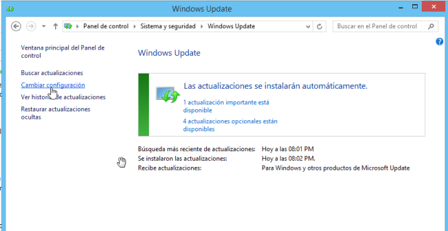 Cómo elegir la configuración de las actualizaciones de Windows - Opción para cambiar configuración
