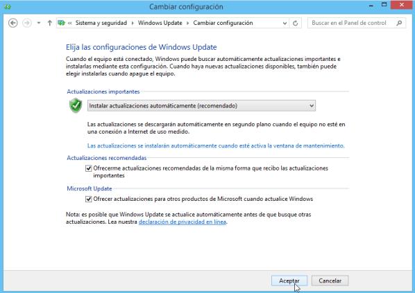 Cómo elegir la configuración de las actualizaciones de Windows - Aceptar cambios