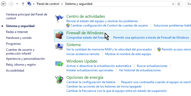 "Opción ""Firewall de Windows"" en en Panel de control de Windows 8"