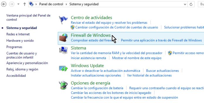 """Opción """"Firewall de Windows"""" en en Panel de control de Windows 8"""