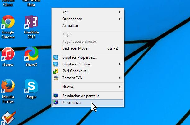 """Cómo ajustar la imagen de fondo del escritorio de Windows - Selecciona la opción """"Personalizar"""""""