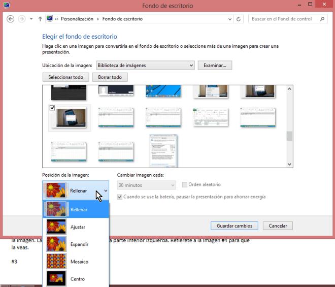 """Cómo ajustar la imagen de fondo del escritorio de Windows - Opciones para """"Posición de la imagen"""""""