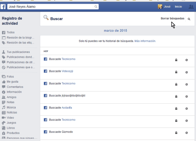 Todas tus búsquedas en Facebook