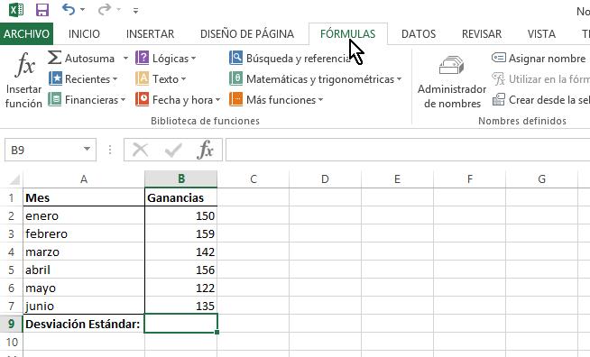 """Pestaña """"FÓRMULAS"""" del menú de Excel"""