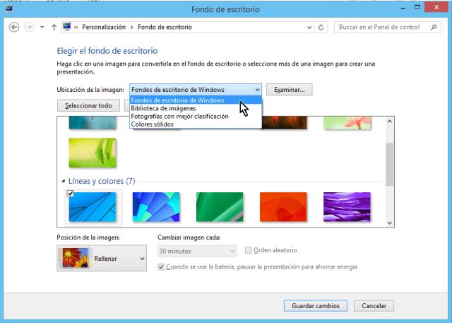 """Cómo cambiar el fondo del escritorio en Windows - Escoge la opción """"Fondos de escritorios de Windows"""""""