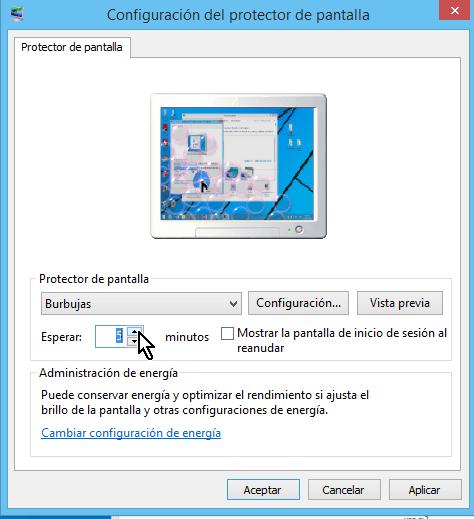 Cómo cambiar el protector de pantalla en Windows - Escoge el tiempo a esperar