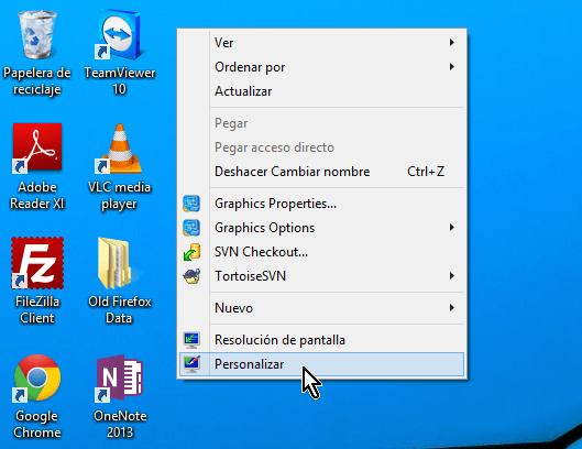 """Cómo cambiar los colores de los bordes de las ventanas en Windows - Dale clic a la opción """"Personalizar"""""""