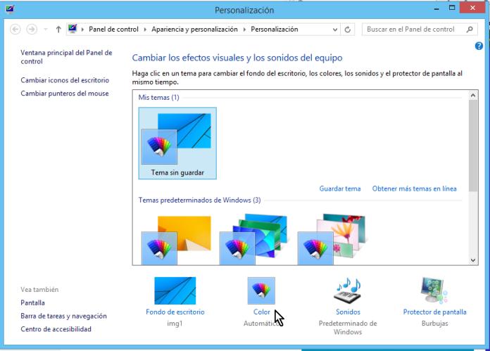 """Cómo cambiar los colores de los bordes de las ventanas en Windows - Dale clic a la opción """"Color"""""""