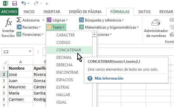 """Cómo concatenar en Excel - Selecciona la opción """"CONCATENAR"""""""