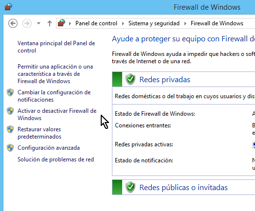 "Opción para ""Activar o desactivar Firewall de Windows"" en Windows 8"