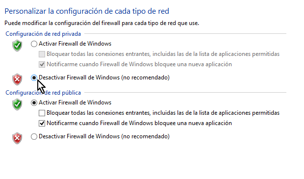 Desactivar el Firewall de Windows en la red privada