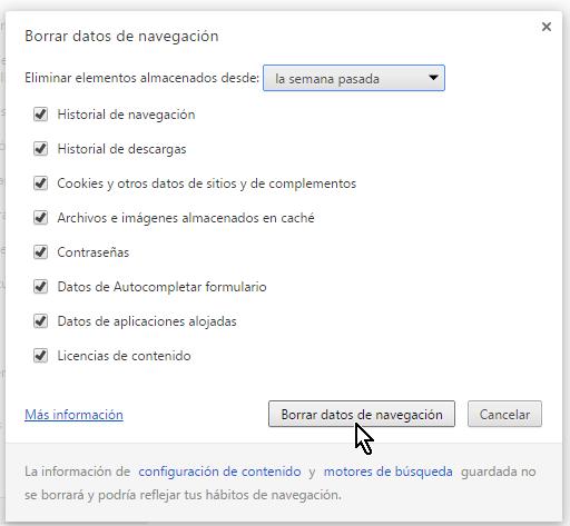 Cómo borrar el historial de Google Chrome - Opciones de tiempo y datos a borrar