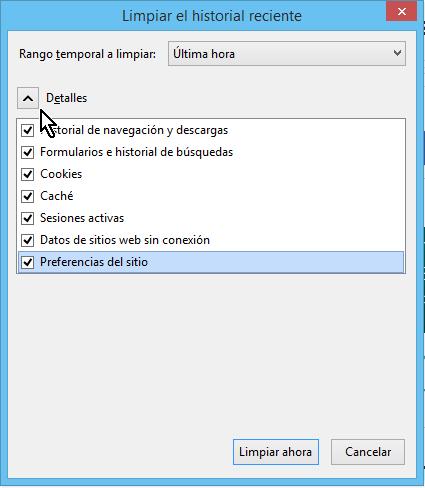 """Cómo limpiar el historial de navegación en Firefox - Botón de """"Detalles"""""""