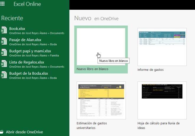 Libros recientes y creación de nuevos libros en Excel Online