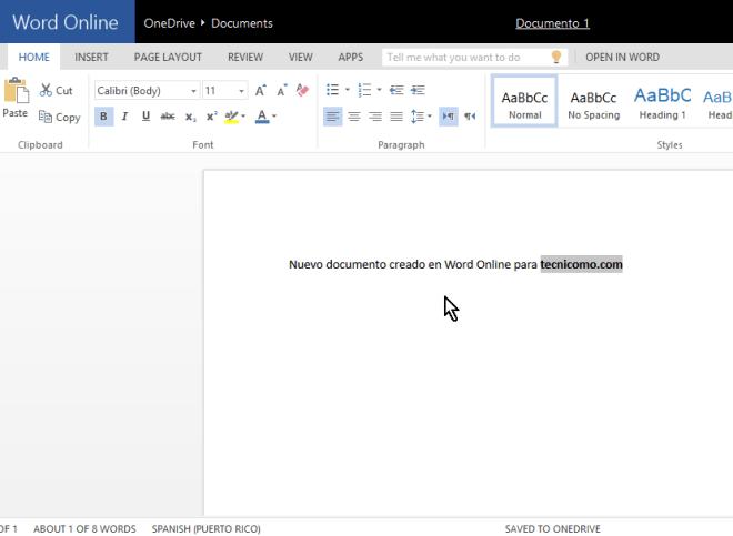 Nuevo documento creado en Microsoft Word Online