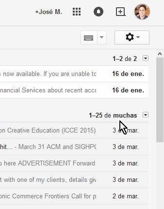 Cómo ver los mensajes más antiguos en Gmail. Indicador del orden de los correos.