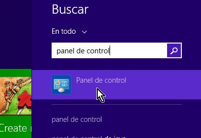 Panel de control desde Buscar