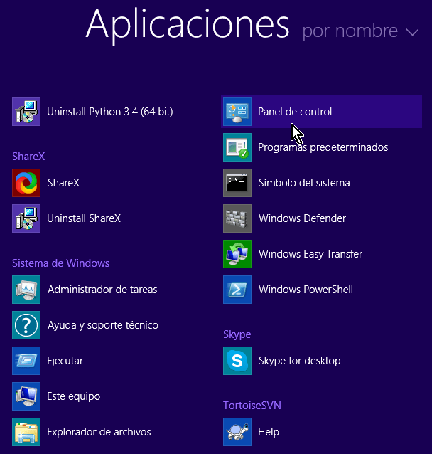 Panel de control en el listado de Aplicaciones de Windows 8