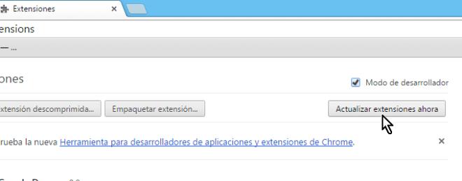 Botón para actualizar las extensiones en cómo actualizar las extensiones de Chrome manualmente
