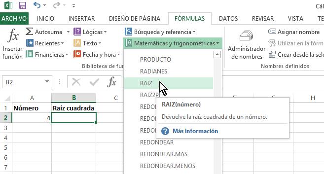 Función RAIZ en cómo calcular la raíz cuadrada en Excel