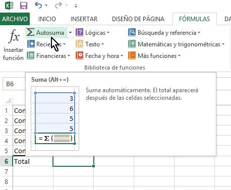 Opción de Autosuma en cómo calcular una suma en Excel
