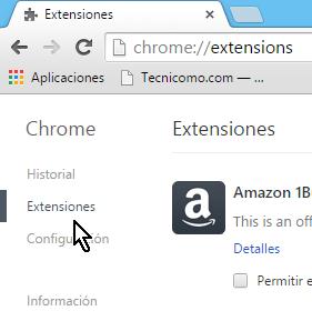 Opción para manejo de extensiones Cómo desinstalar extensiones de Google Chrome