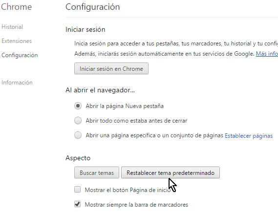 Botón para Restablecer tema predeterminado en cómo desinstalar un tema de Google Chrome