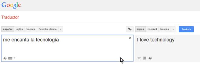 Pantalla con texto traducido al inglés en cómo escuchar la pronunciación en el traductor de Google
