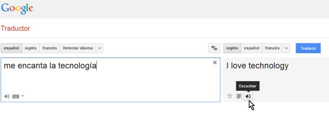 Botón para escuchar la traducción al inglés en cómo escuchar la pronunciación en el traductor de Google